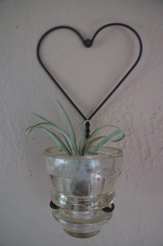 Vintage telephone pole insulator votive holder or planter for Glass insulator ideas