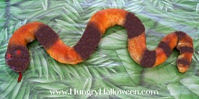Slithering Snake Snack Crescent Rolls, Hot Dogs, Food Coloring, Red Pepper  Hungry Halloween: Halloween Recipe