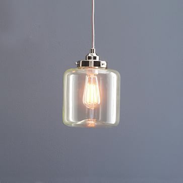 glass jar pendant short westelm like this for over