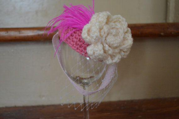 Crocheted Newborn Pink Pillbox Hat Ivory by HookandEweDesigns, $18.00