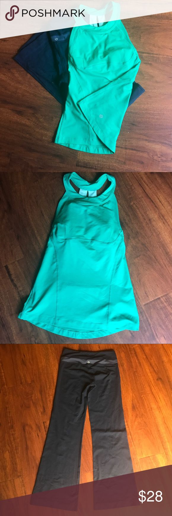 "Lululemon Bundle Blue Pants & Green Tank Both of these items are a bit older and I'm sure of the name of the tank which is ""make it count"" I'm not sure of the name of the pants. They look like ""groove me"" but I can't say for sure.  These items also have been used. I've shown any imperfections which aren't much but Im a perfectionist 😜They still got lots of work outs in them!!     The pants are 29in from crotch and 35in from top to bottom. The top is a size 4 lululemon athletica Tops Tank…"