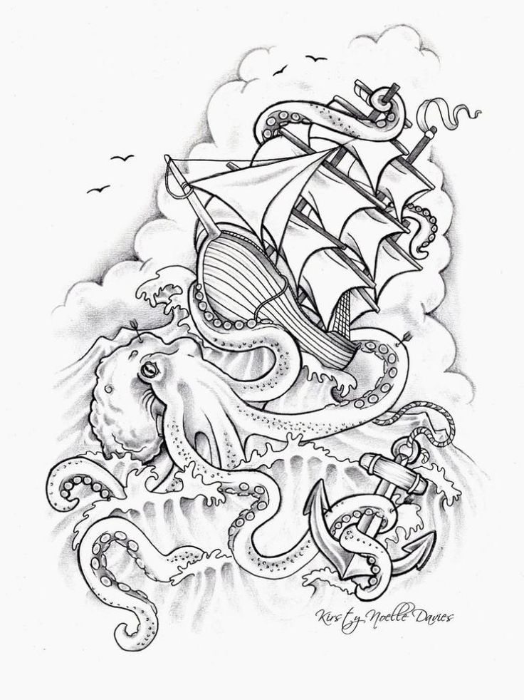 Kraken attacking ship tattoo sketch