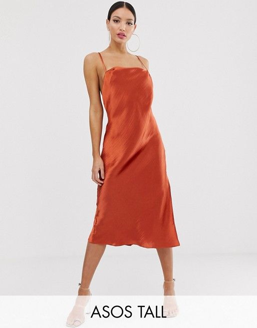 243e4cc9f372 ASOS DESIGN Tall cami slip midi dress in high shine with strappy back | ASOS