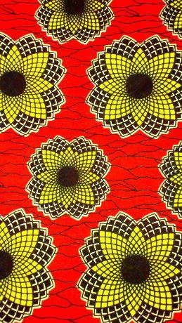 fabric 1: African fabric which is out there and makes your garment be a statement because it's busy.