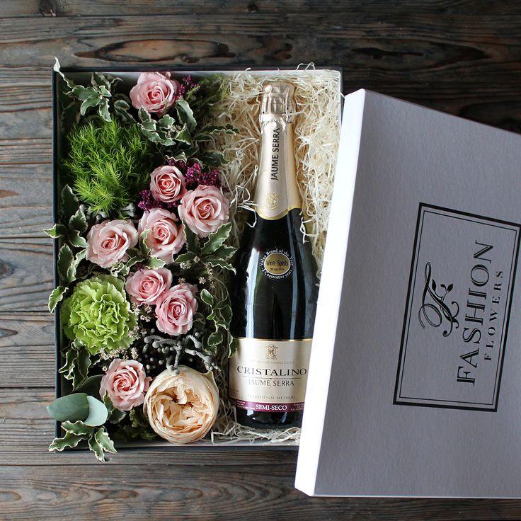 Цветы одинцово, цветы и шампанское в коробке