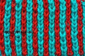 узор спицами цветные вертикальные полоски