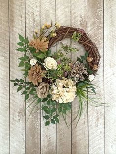 Burlap Wreath, Neutral Wreath, Everyday Wreath, Year Round Wreath, Any Occasion Wreath, SIlk Floral Wreath, Grapevine Wreath, Front Door Wreath, Wreath on Etsy, by Adorabella Wreaths!