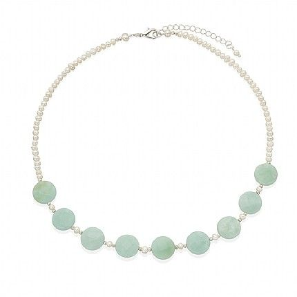 Buy Amazonite & Pearl Necklace from Pia Jewellery