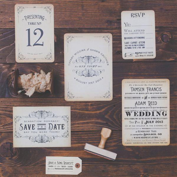 Vintage Steampunk Wedding Invitations by Royal Steamline | Photo: Hazelwood Photo