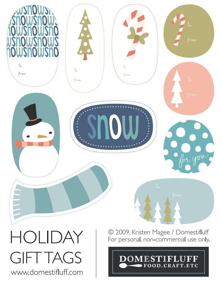 41 Sets of Free Printable Christmas Gift Tags: Wintry Holiday Tags by Domestifluff