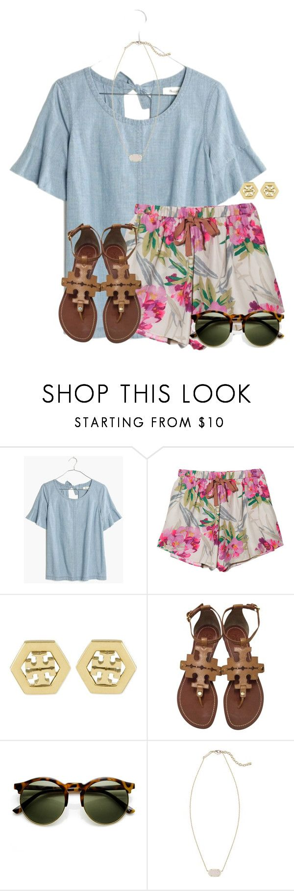 """""""~s h i n e~"""" by flroasburn ❤ liked on Polyvore featuring Madewell, Elizabeth and James, Tory Burch and Kendra Scott"""