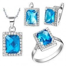 Set bijuterii veritabile Safiria placate cu platina si cristale culoare Topaz