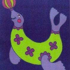 Tableau pour chambre d'enfant ou bébé : mignonne otarie et son ballon. Acrylique sur toile, 30x24cm. Signé. En vente.