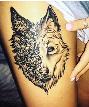Husky Tattoo On Right Thigh Nxt To Golden Retriever Ribbon Under