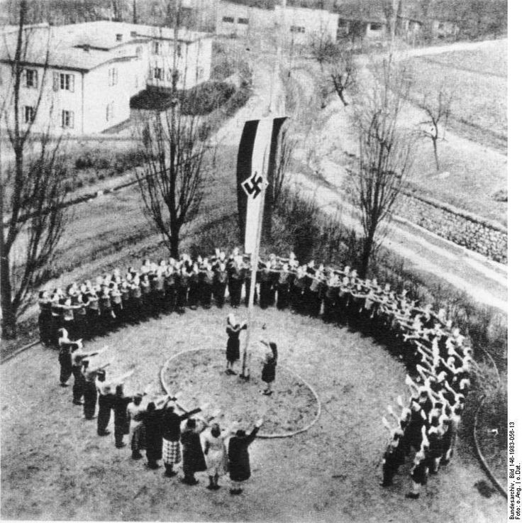 Evacuated German children attending a flag raising at a Kinderlandverschickung camp, Germany, 1939-1945