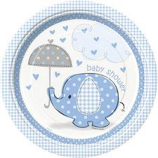 "Blue Elephant Baby Shower 9"" Lunch/Dinner Plates"