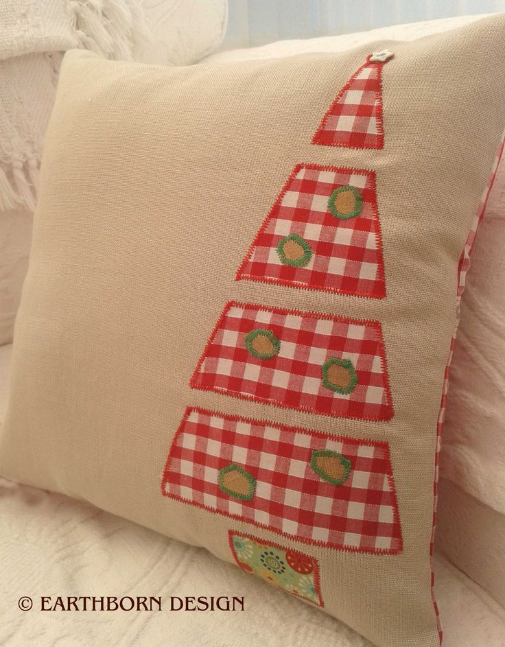 100% Beige cotton with Christmas Tree appliqué
