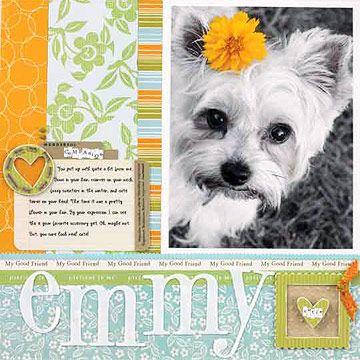 Dog Scrapbook Layout Ideas: Artsy Dog Layout
