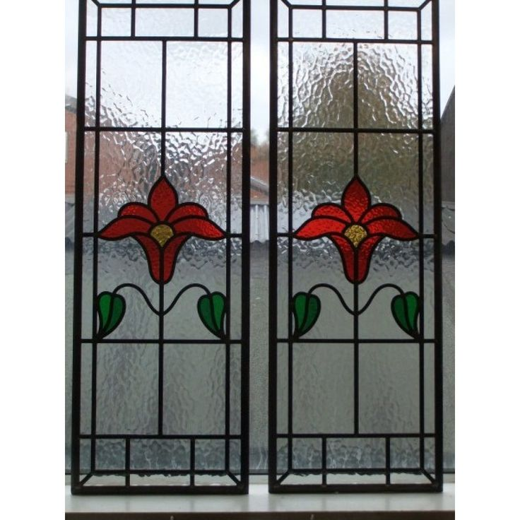 040  Hand made stained glass panel - Stunningly simple bright Red Flower on clear textured background