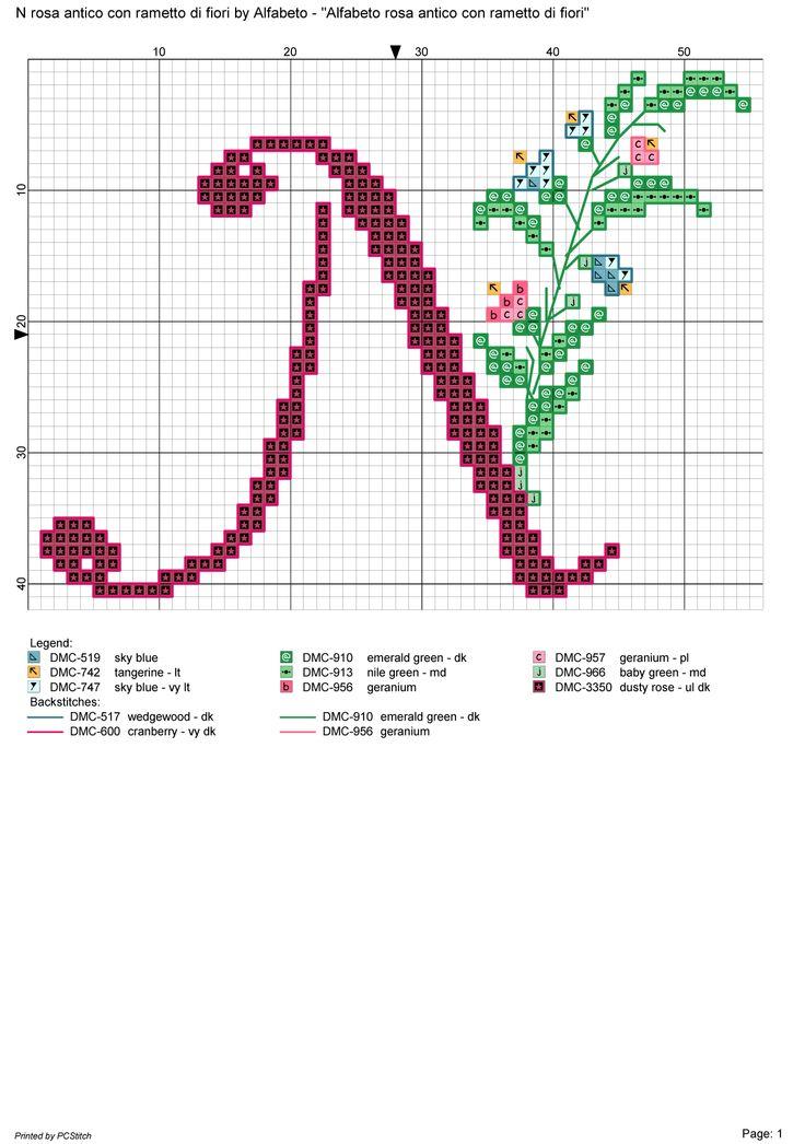 Alfabeto rosa antico con rametto di fiori: N