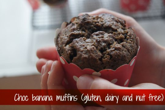 Lovely moist choc banana muffins that are gluten, dairy, nut and cane sugar free. Perfect treat for the kids' lunch boxes or a snack for mum.