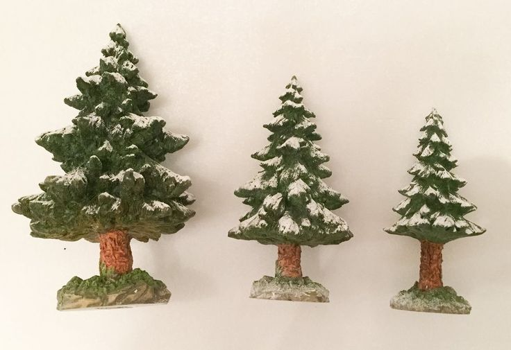 Dept. 56 Village Snowy Scotch Pines Trees set of 3