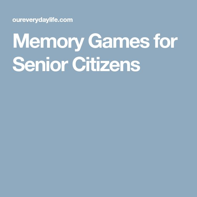 Memory Games for Senior Citizens