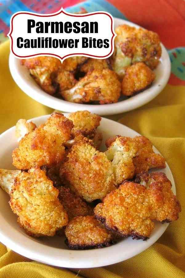 Parmesan Cauliflower Bites will be the hit of your party or dinner table! They're low-carb, keto-friendly, gluten-free and melt in your mouth delicious! Follow our easy breading technique to get these in your belly quick! #cauliflower #lowcarbrecipes #lowcarbdiet #ketorecipes #ketogenicdiet #cleaneatingrecipes