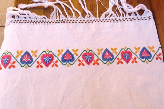 4. Vintage hand embroidered pure linen by vintagelinenbroidery