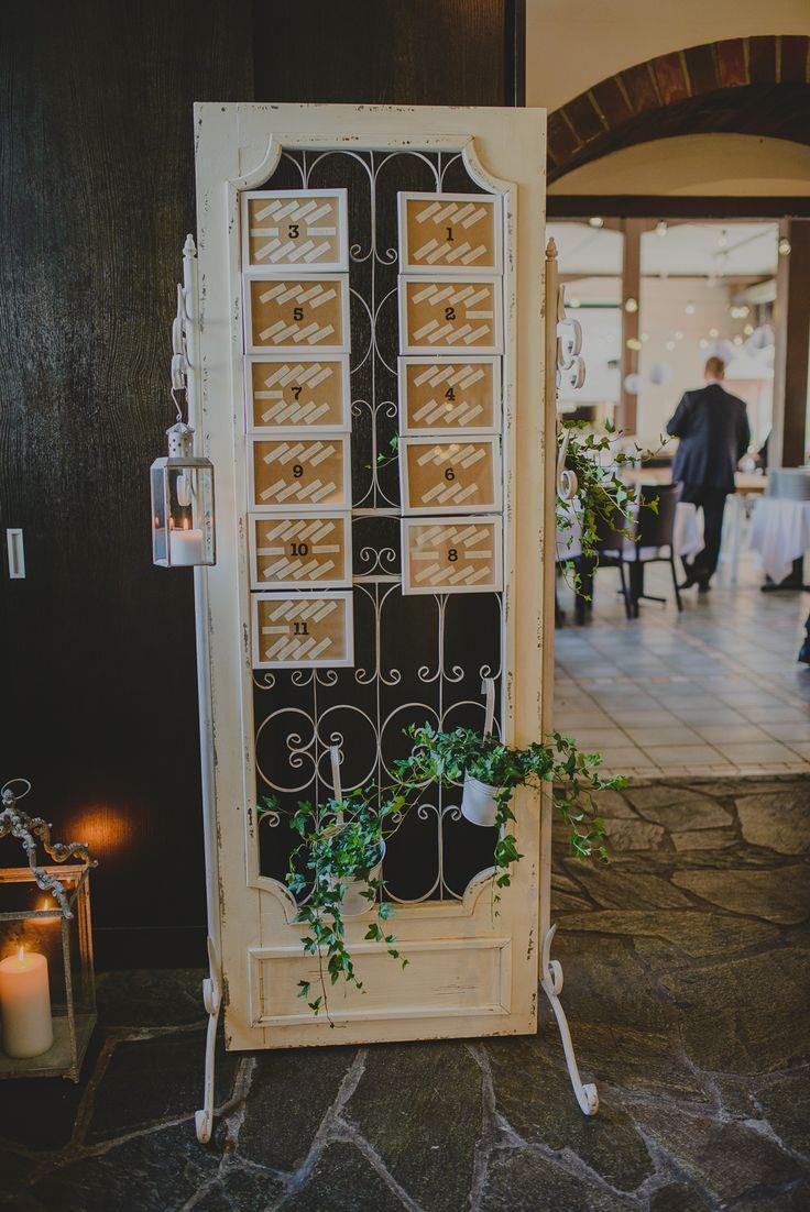 An old door re-used in a rustic wedding as a table map sign // Vanha ovi uusiokäytössä rustiikkisissa häissä istumapaikkaopasteena