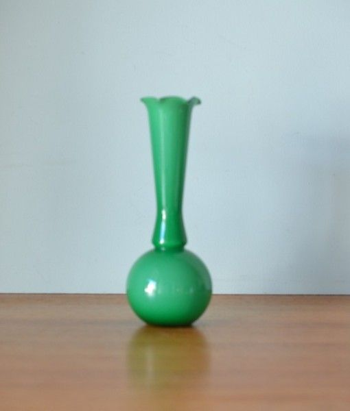 Vintage green glass vase retro