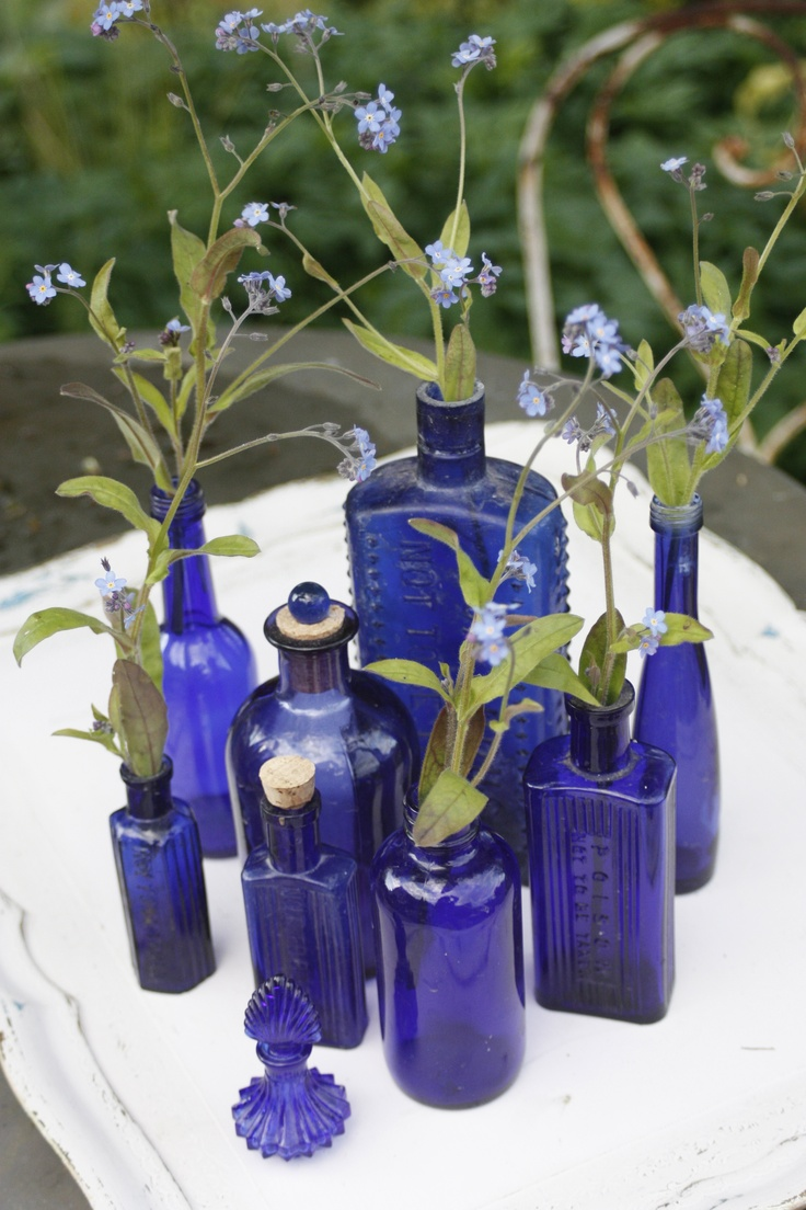 Blue vintage vases with blue tweedia—simple to scatter around the buffets, place in the restrooms, etc.