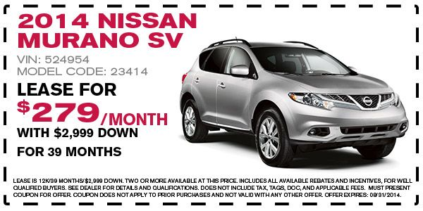2014 Nissan Murano SV Lease Offer - August