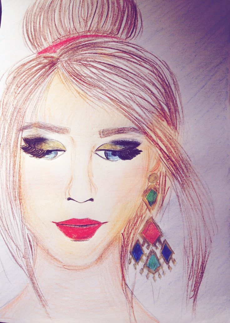 Hairstyle&makeup drawing! My favourite is the earring. Have a glam day!💄💋👠🕶