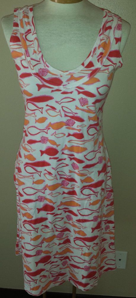 Fresh Produce Tank Dress Lake Fish White Pink Orange Made USA Sz XS NEW #FreshProduce #TankDress #Casual http://stores.ebay.com/Castys-Collectibles?_dmd=2&_nkw=fresh+produce