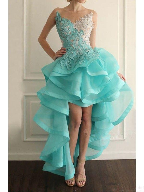 Sexy V-neck Appliques High low Prom Dresses ,Party Dresses,Homecoming Dresses#promdresses #SIMIBridal