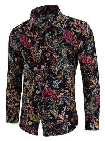 Turn Down Collar Linen Paisley Print Shirt