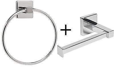 Chrome-Square-Bathroom-Toilet-Roll-Holder-Towel-Ring-Set-Fittings-Included