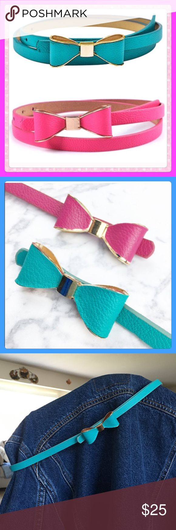 "NWT Blue Vegan Leather Thin Bow Belts! ✨NWT Blue Vegan Leather Thin Bow Belts! This belt would be really cute with jeans as well as other attire! Add a Bit of Flare to your Wardrobe! The Bow is made of metal so it will keep its shape! I have 3 of these Blue Belts! Get One before their gone!! Measurements: 40"" from tip to tip. 7 holes ranging from 30-35"".✨ Accessories Belts"