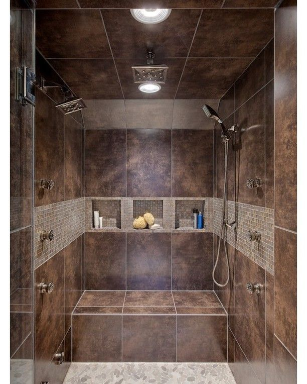 Transitional Master Bath - Really like the built in shelves and bench as well as 2 shower heads.  #bath #bathroompic #bathtub #bathdesign #design #bathroom #bathdecor #bathroomdesign #bathfaucet #bathideas #bathinspiration #luxurybath #bathroomdecor #bathdesignideas #dreambath #dreambathroom by magnus_design