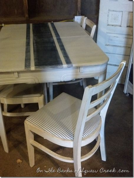 ticking stripe chair & table, $150 www.facebook.com/theHomeShed