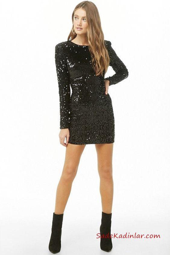 eb71edafd9226 Gece Elbiseleri Siyah Kısa Kayık Yaka Uzun Kol Payetli #moda #fashion  #fashionblogger #evening #eveningdresses #eveninggowns #promdresses  #partydress #abiye ...