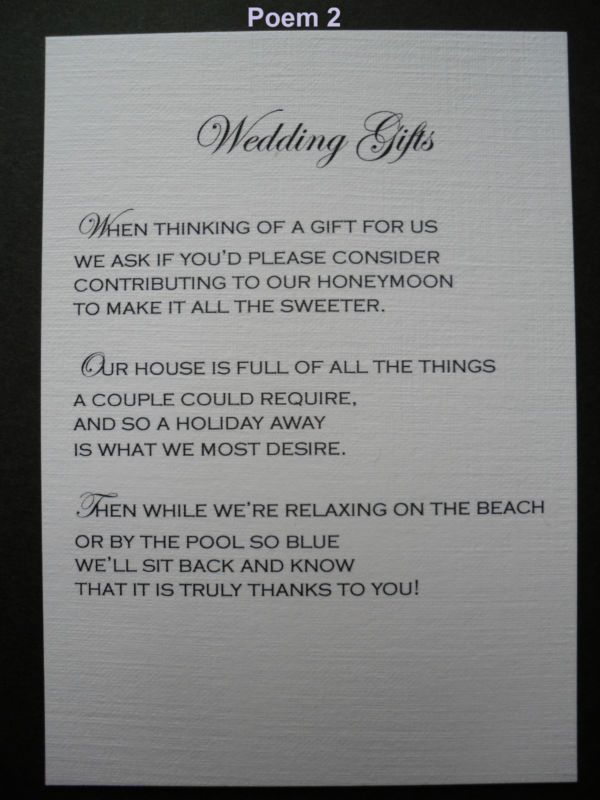 50 Handmade Personalised Wedding Gift Poem Verse Cards