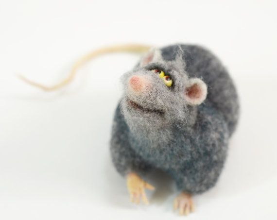 Needle Felted Gray Rat Mouse Funny Animals Pets Home decor Halloween gift Felted animals on Etsy, $150.00