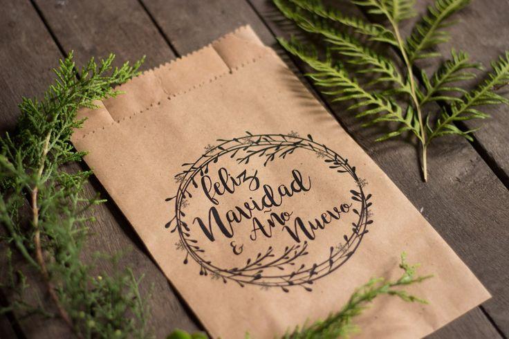 25 bolsas papel madera kraft impresas navideñas 15x24