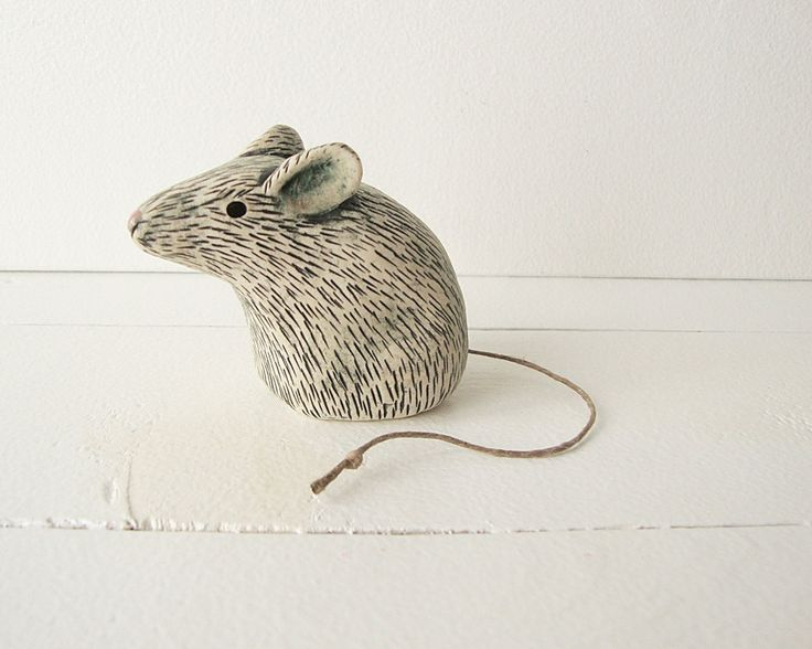 Clay Mouse Animal Sculpture Handmade Ceramic Art