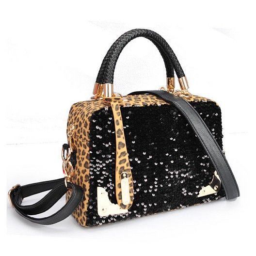 Leopard print and sequins handbag