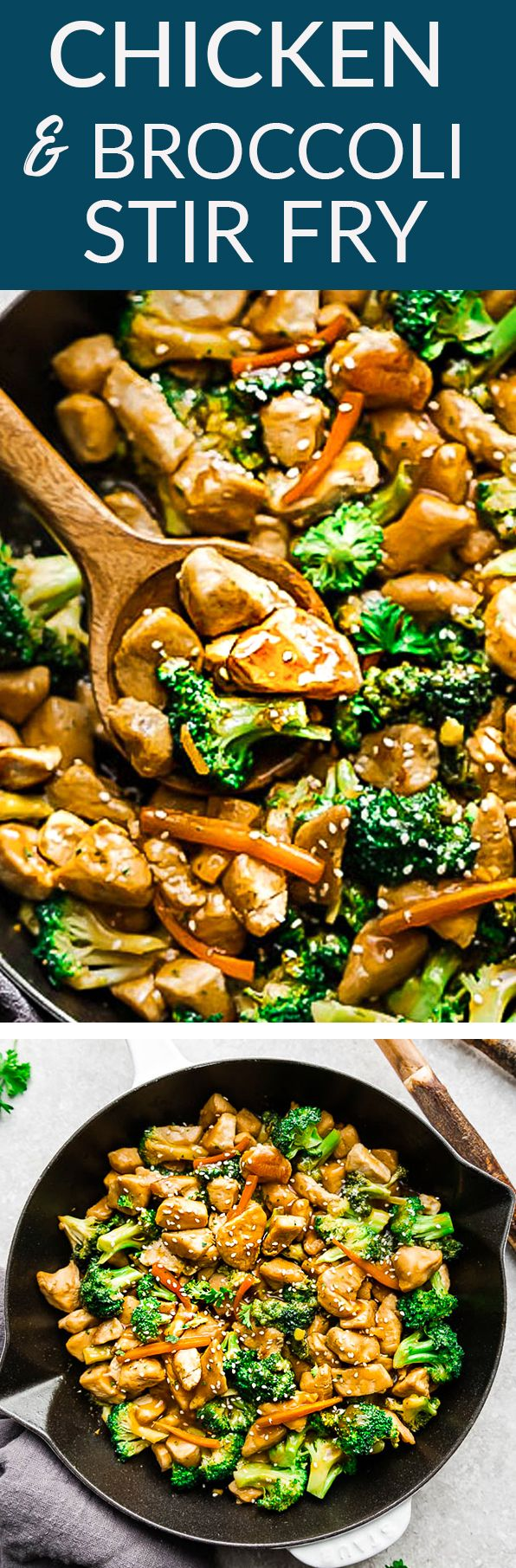 Chicken and Broccoli Stir-Fry - the perfect easy dish when that Chinese takeout restaurant craving hits! Best of all, made with juicy chicken, tender broccoli & carrots - coated with a rich and savory Asian-inspired sauce. Simple to customize & ready in under 30 minutes, versatile and great Sunday meal prep for work or school lunches! #chicken #broccoli #takeoutfakeout #chinesetakeout #recipe #paleo #keto #options #weeknight #30minutes #chinesefood