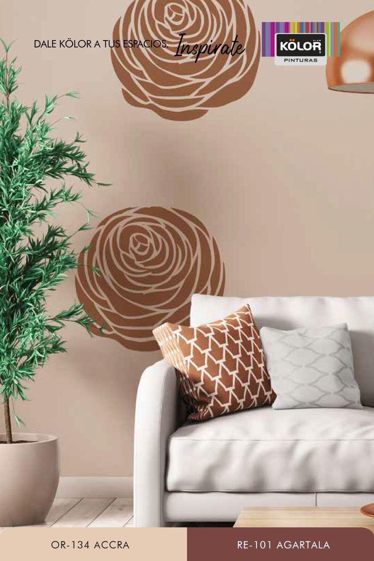Animate al stencil utilizando estos tonos cálidos para crear interiores naturalmente acogedores. ¡Dale energía positiva a tu casa con este dúo! Descargá la plantilla de flor para generar tu propio stencil y encontrá muchas más combinaciones. Descubrí las Pinturas Kölor y elegí entre más de 1.500 colores Interior Natural, Stencils, Accent Chairs, Hands, Furniture, Home Decor, Cozy, Template, Color Combinations
