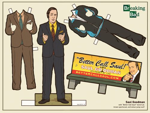 """""""Better call Saul!"""" Breaking Bad Paper Dolls by Kyle Hilton"""